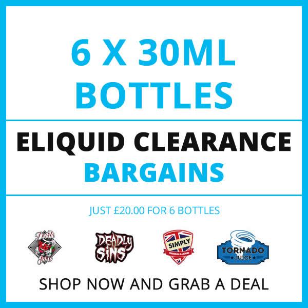 6 Bottle 30ml Eliquid Clearout