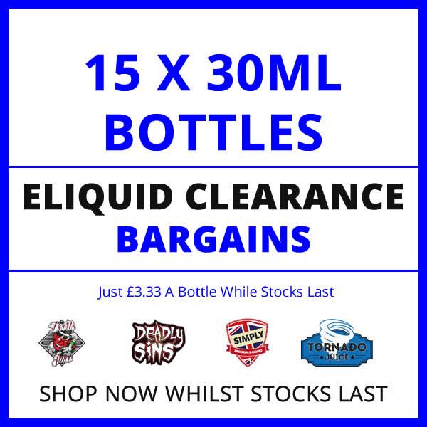 15 Bottle 30ml Eliquid Clearout